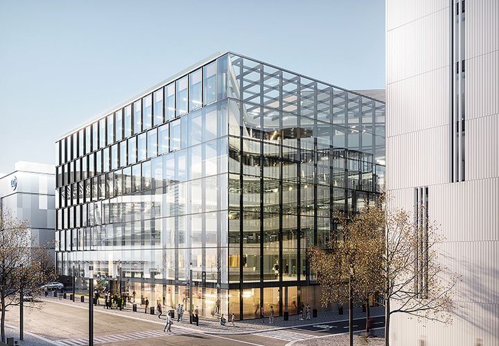 Bau des Zalando Headquarterkomplexes in Berlin